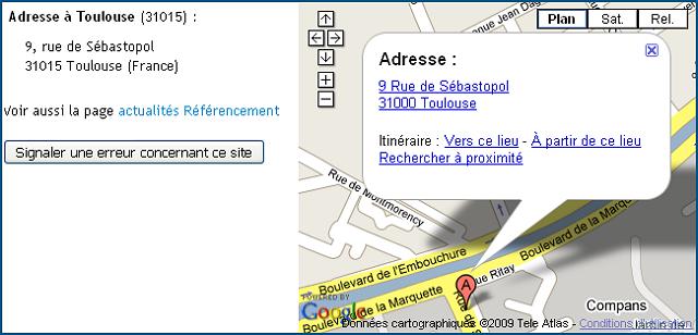 Affichage de la carte + adresse postale sur la fiche détaillée du site