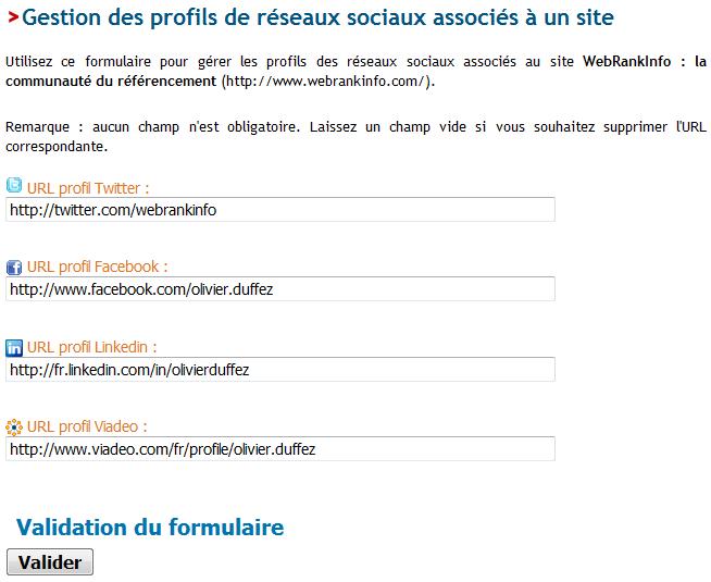 Formulaire de gestion des profils de réseaux sociaux