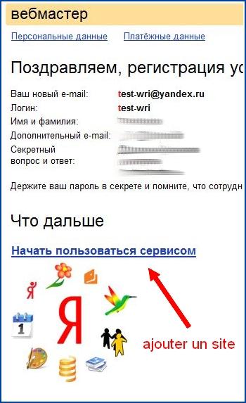 Une fois le compte Yandex créé, vous pouvez ajouter un site dans Yandex Webmaster Tools