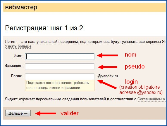 Création de compte Yandex Webmaster Tools